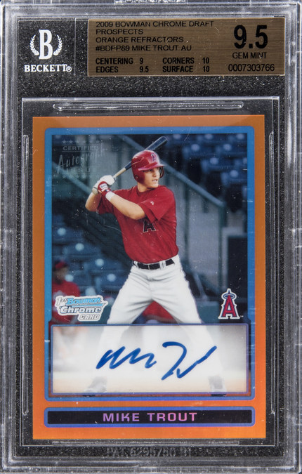 2009 Bowman Chrome Mike Trout Rookie Card Sells For 186580