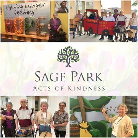 Residents at Sage Park Assisted Living and Memory Care in Kissimmee enjoyed a month-long Acts of Kindness initiative and collected 156 pounds of donated food items to deliver to the Second Harvest Food Bank of Central Florida.