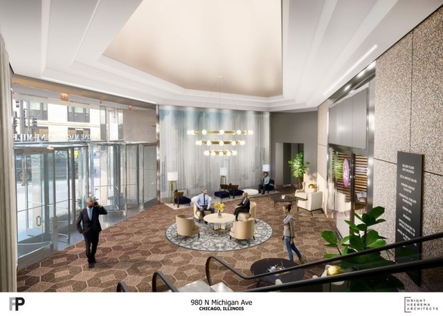 The new lobby at One Mag Mile will bridge the gap between upscale Gold Coast vibes with modern amenities for a new generation of innovators.
