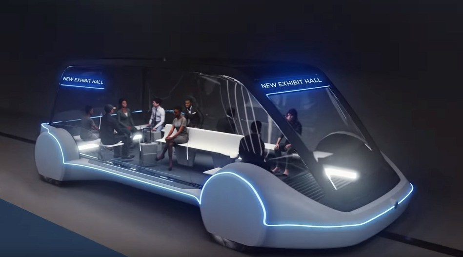 High-Occupancy Autonomous Electric Vehicle (AEV) running between Exhibit Halls. Courtesy The Boring Company.