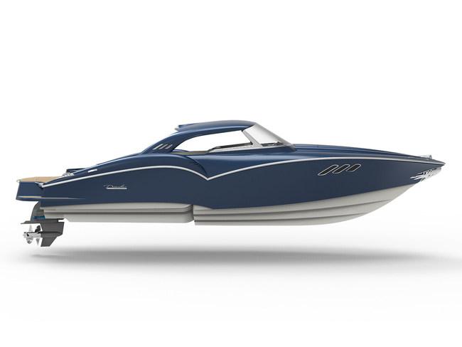 Danalevi Powerboats 2019 Furina 24 Classic featuring new retro hardtop canopy.
