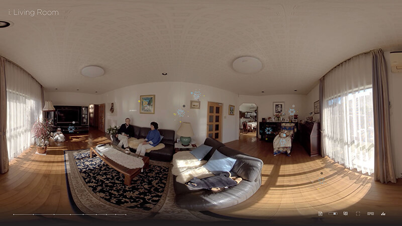 """Using 360° video, we take a peek into the treasured memories that filled the living room of a typical Japanese home belonging to a real family. Visit our exhibit to witness the convergence of digital and the universal theme of """"family""""."""