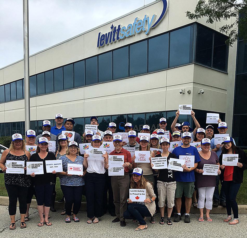 Levitt-Safety staff outside of the company's Oakville, Ont. headquarters. (CNW Group/Levitt-Safety Ltd.)