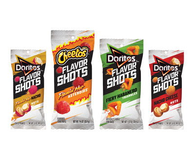 Flavor Shots are an intensely-flavored snack that include favorites from Cheetos and Doritos