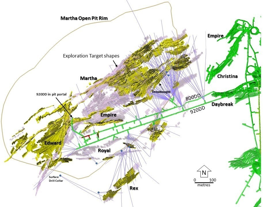 Figure 2 – Plan View showing holes drilled from August 2017 to January 2019 within the Martha vein system and the dominant targeted veins (Martha, Empire, Royal, Edward). Pink = Main Target Areas, Yellow = Current Martha Underground Resource Areas, Green = Recent and Current Mining Areas. (CNW Group/OceanaGold Corporation)