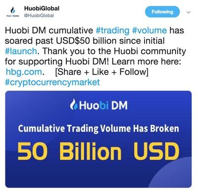 Huobi DM Hits USD $50 Billion In Trading Volume, https://twitter.com/HuobiGlobal