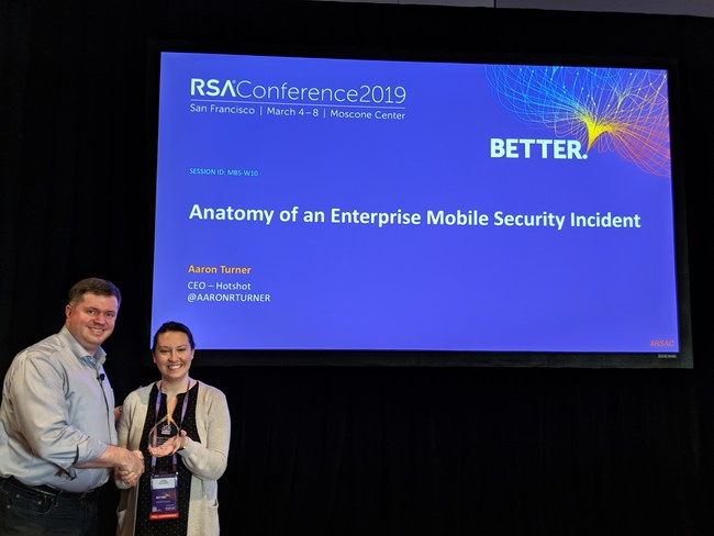 Mobile Security Expert Aaron Turner presented at RSA and was recognized with prestigious industry leadership award