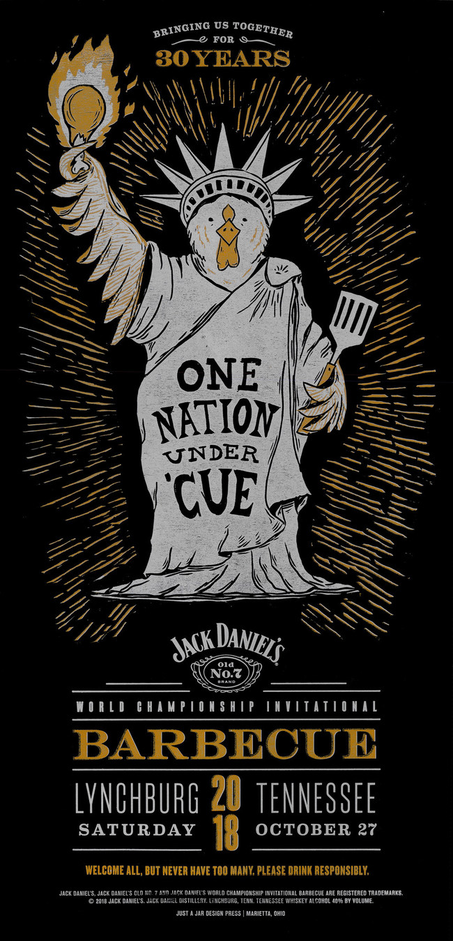 One of a set of three Jack Daniel's 30th Annual World Championship Invitational Barbecue posters, designed by FINN Partners Nashville office, DVL Seigenthaler, that won 'Best-in-Show' at the recent Nashville Addy Awards.