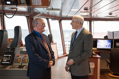 Chief Terrance Paul, co-chair of the Assembly of Nova Scotia Mi'kmaq Chiefs and Clearwater CEO Ian Smith onboard the clam vessel Anne Risley. (CNW Group/Clearwater Seafoods Incorporated)