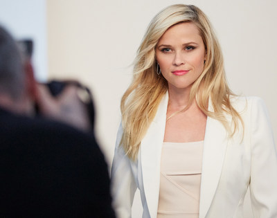 Elizabeth Arden's Storyteller-in-Chief Reese Witherspoon behind-the-scenes at the March On photo shoot.