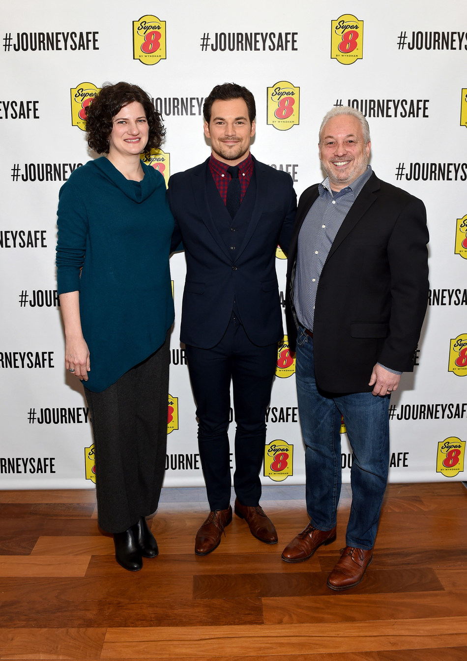 Giacomo Gianniotti, philanthropist and actor, Dr. Janet Kennedy Ph.D., sleep expert and licensed clinical psychologist and Mike Mueller, Super 8 brand senior vice president, address the audience at Super 8 by Wyndham's Journey Safe event on Thursday, March 7 2019 in New York, NY.  The #JourneySafe campaign launches during National Sleep Awareness Month and helps raise awareness and educate the public of the dangers of drowsy driving. Visit Super8.com/journeysafe to learn more.