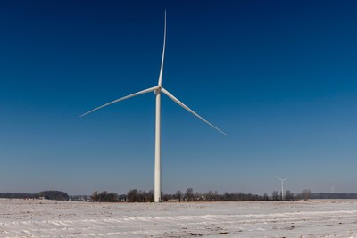A turbine at Pine River wind park.