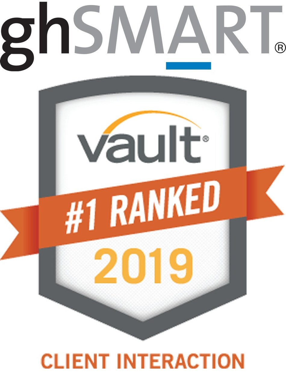 "Leadership Advisory Firm ghSMART Wins #1 Ranking in the 2019 Vault Study of ""Best Consulting Firms to Work For"" in the Category of Interaction with Clients"