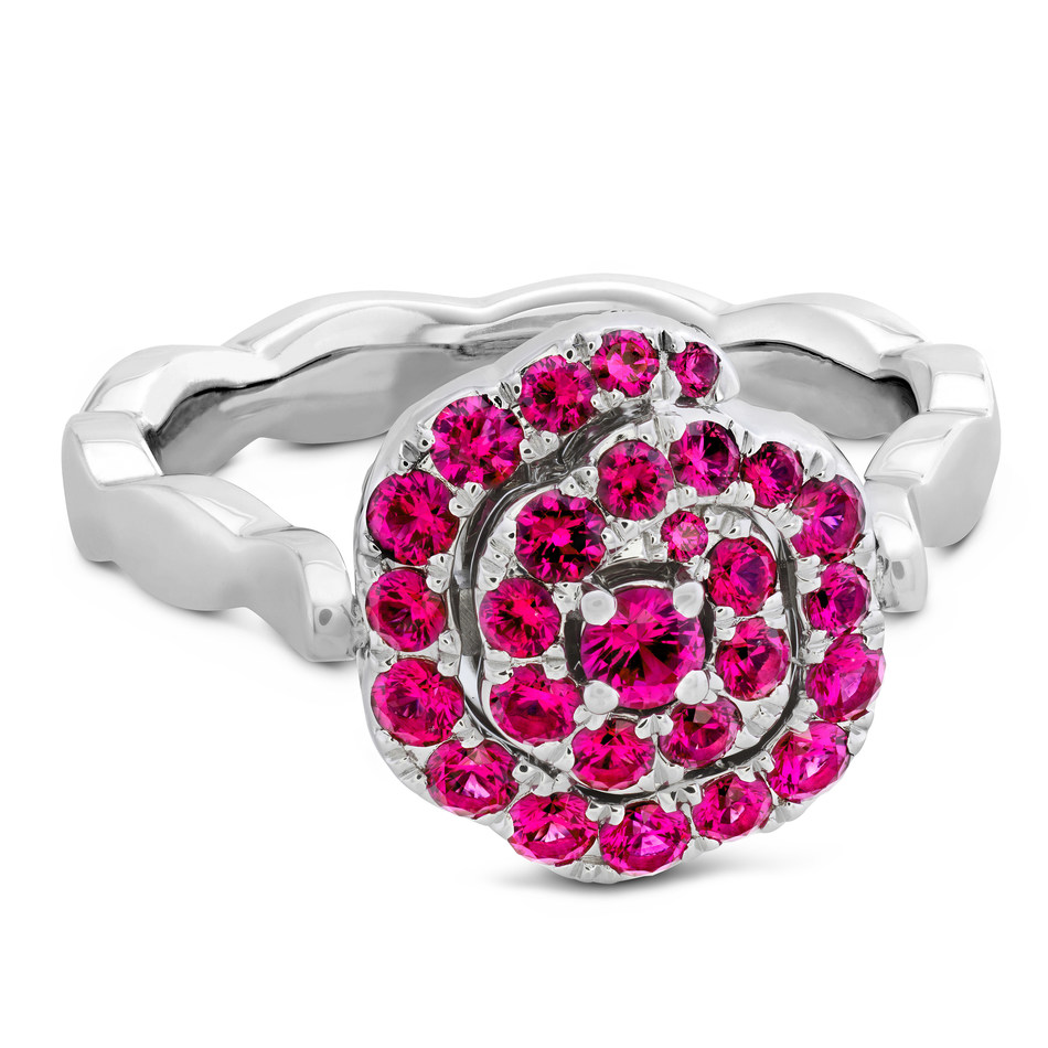 Lorelei Diamond and Ruby Floral Flip Ring, SRP:  $4,100