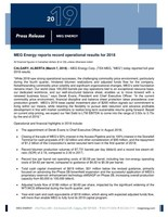 MEG Energy 2018 Year-End News Release (CNW Group/MEG Energy Corp.)