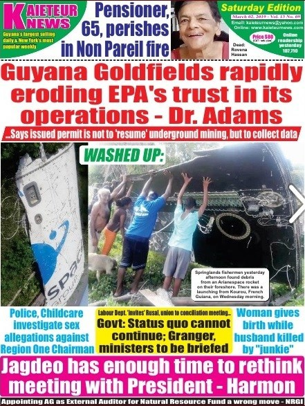 Front page of Kaieteur News March 2 2019 (CNW Group/Concerned Shareholders of Guyana Goldfields Inc.)