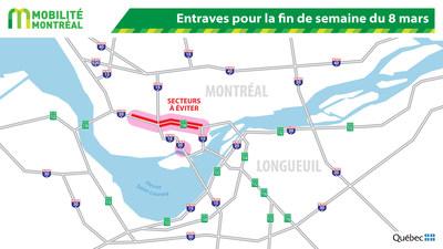 Entraves pour la fin de semaine du 8 mars (Groupe CNW/Ministère des Transports)