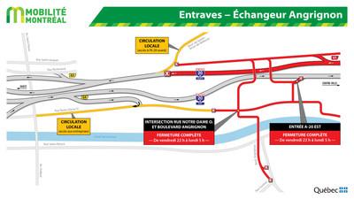Entraves - Échangeur Angrignon (Groupe CNW/Ministère des Transports)