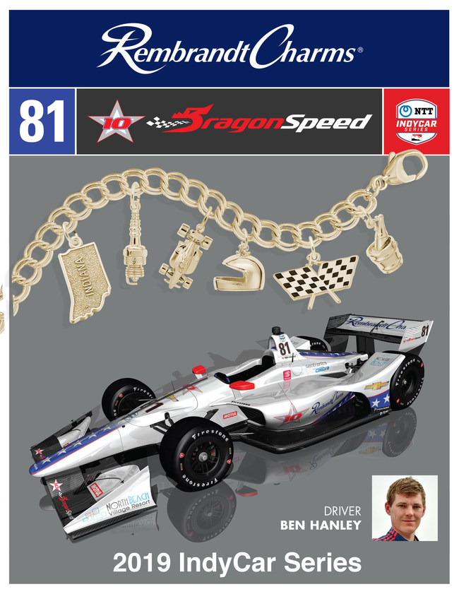 Rembrandt Charms has joined DragonSpeed as a launch sponsor of the globally accomplished sportscar team's NTT IndyCar Series entry to be piloted by Ben Hanley in five 2019 rounds of America's premier open-wheel series.