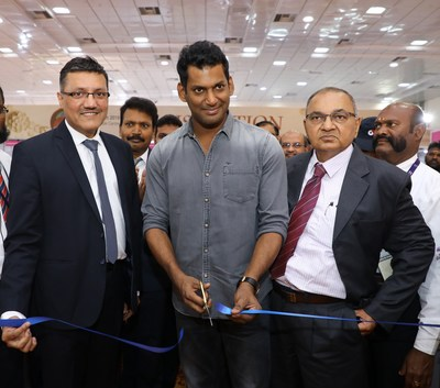 ( L _ R ) Mr.Yogesh Mudras, Managing Director, UBM India; Shri Vishal Krishna, Actor, Producer Secretary General for Nadigar Sangam, President of Producer Council, Anti - Piracy Activist and Mr. Yogesh Shah President, Chennai Jewellers Association at the inauguration ceremony of The Chennai Jewellery & Gem Fair ( CJGF ) March edition 2019, at the Chennai Trade Centre ( CTC ). (PRNewsfoto/UBM India Pvt. Ltd.)