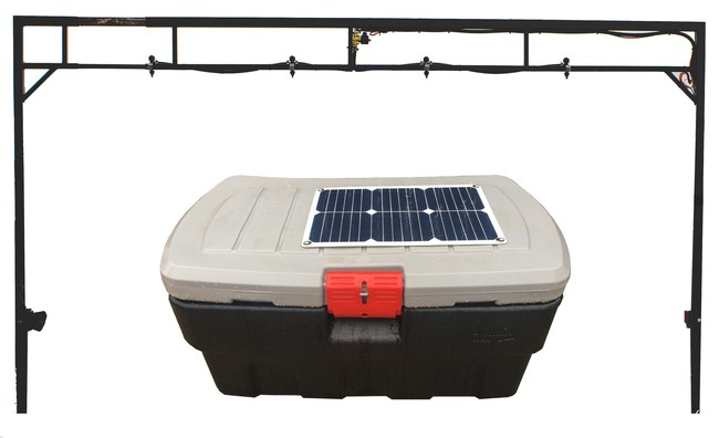 The Buzz-Kill Fly Control System consists of a panel/gate and a power box that runs on solar. This product provides a low stress, quick and efficient application of your favorite water and/or oil based fly control product.