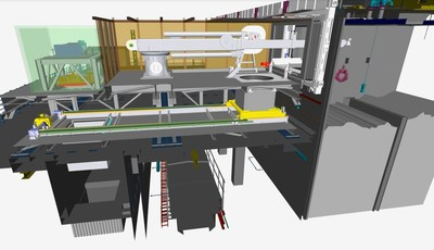 A rendering of the waste retrieval system (arm and packaging system) that's now installed at the Pile Fuel Cladding Silo, Sellafield Site, England. Credit: Bechtel Cavendish Nuclear Solutions