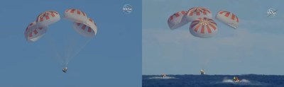 Completing an end-to-end uncrewed flight test, Demo-1, SpaceX's Crew Dragon departed the International Space Station at 2:32 a.m. EST Friday, March 8, 2019, and splashed down at 8:45 a.m. in the Atlantic Ocean about 200 nautical miles off the Florida coast. Credit: NASA Television