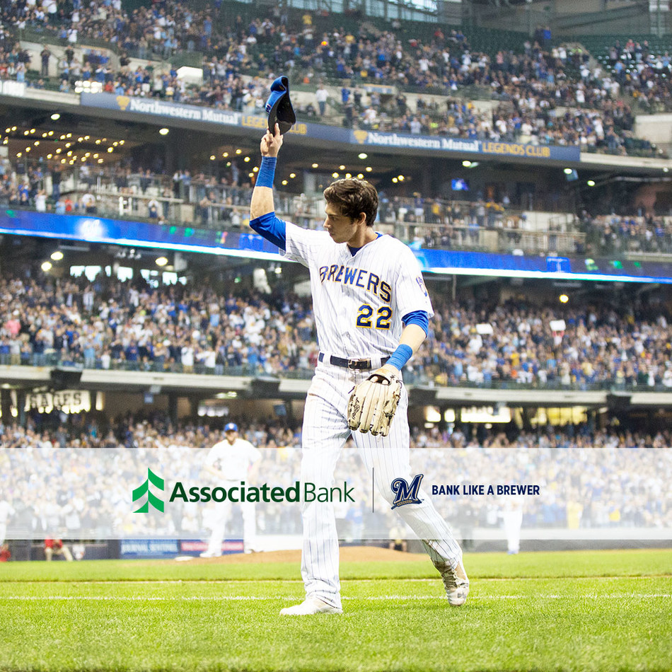 Christian Yelich will partner with Associated Bank as part of the bank's 2019 Brewers campaign.