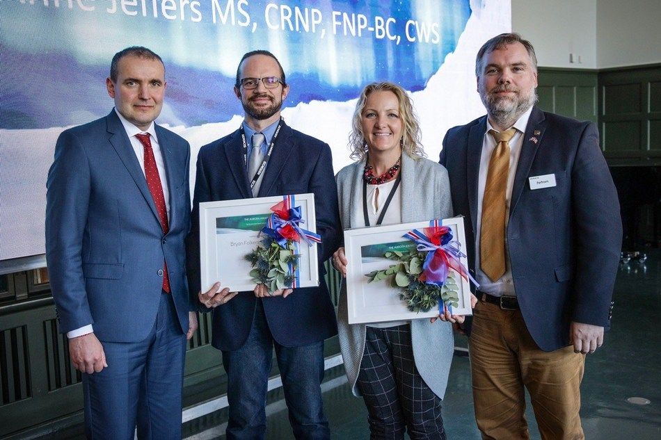The president of Iceland, HE Gudni Johannesson, presented the Kerecis Aurora Awards to plastic surgeon Bryan Folkers (D.O. FACOS) and nurse practitioner Lisa Jeffers (CRNP, CWS) at the company's Northern Lights Workshop in Reykjavik, Iceland. The awards are given to the best clinical research on the use of the Kerecis fish skin products, which was developed by G. Fertram Sigurjonsson, president and CEO of Kerecis (right).