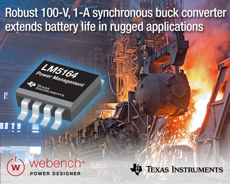 TI's highly integrated, wide-VIN DC/DC buck regulator extends battery life in rugged industrial and automotive applications