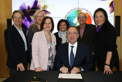 Mayor Bevilacqua formally signs the Leadership Accord on Gender Diversity, alongside Council, during the City's 2019 International Women's Day event. (CNW Group/City of Vaughan)