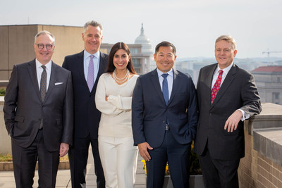 Nicole J. Simonian and Evan Yee-Fan Chuck join forces with Crowell & Moring's Robert Holleyman, David R. Stepp, and John B. Brew to expand the firm's international trade practice. (Photographed from left to right: Holleyman, Stepp, Simonian, Chuck, and Brew) (PRNewsFoto/Crowell & Moring LLP)