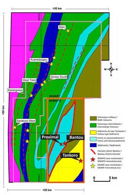 Figure 1. Portefeuille de propriétés de 1 250 km2 de l'échelle d'un district (Groupe CNW/SEMAFO)