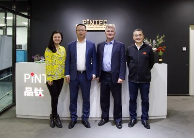 William Wei, founder and CEO of PINTEC (first on right); Nicholas Davies, founder and CEO of InfraRisk (second from right); Zhou Jing, president of PINTEC (first on left); Victor Li, co-founder of InfraRisk (second from left).