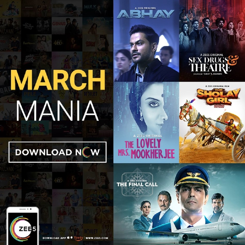 ZEE5 kicks off March Mania with a line-up of New Originals for its Global market (PRNewsfoto/ZEE5)