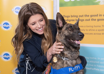 """Adoption advocate Katherine Schwarzenegger joined the PEDIGREE® brand on Saturday, March 9 at the premiere of the IMAX® documentary, Superpower Dogs, to support their sponsorship of the film and raise awareness for pet adoption with the brand's new """"Every Pup's Superpower"""" campaign."""