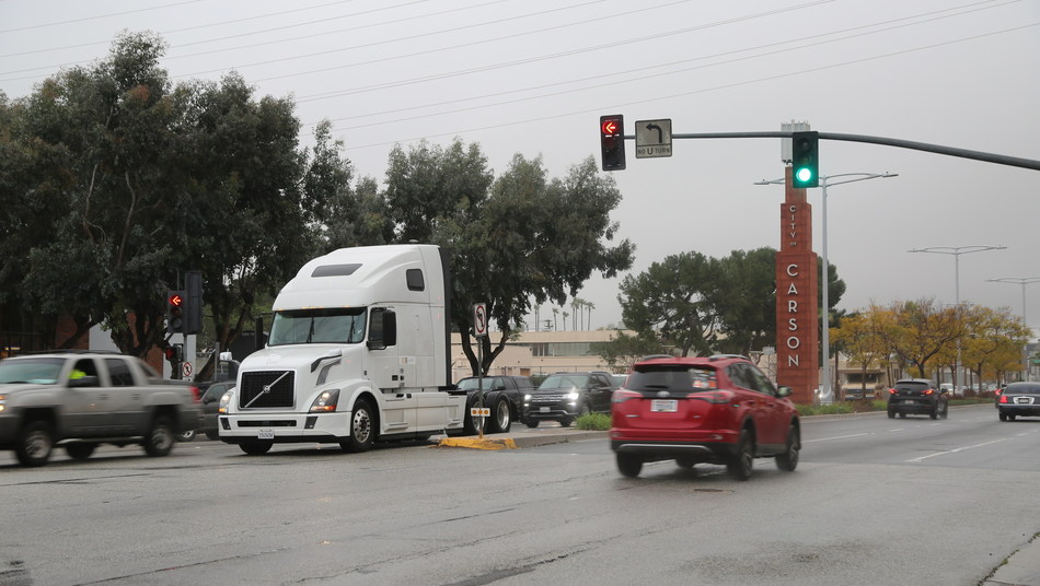 Volvo VNL equipped with prototype Eco-Drive technology during testing near the San Pedro Bay ports in Southern California.
