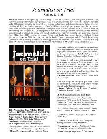 Journalist on Trial by Rodney D. Sieh (CNW Group/Journalists for Human Rights (JHR))