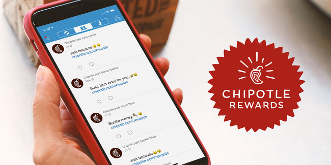 Chipotle.com/Rewards launches by giving fans a quarter of a million dollars on Venmo