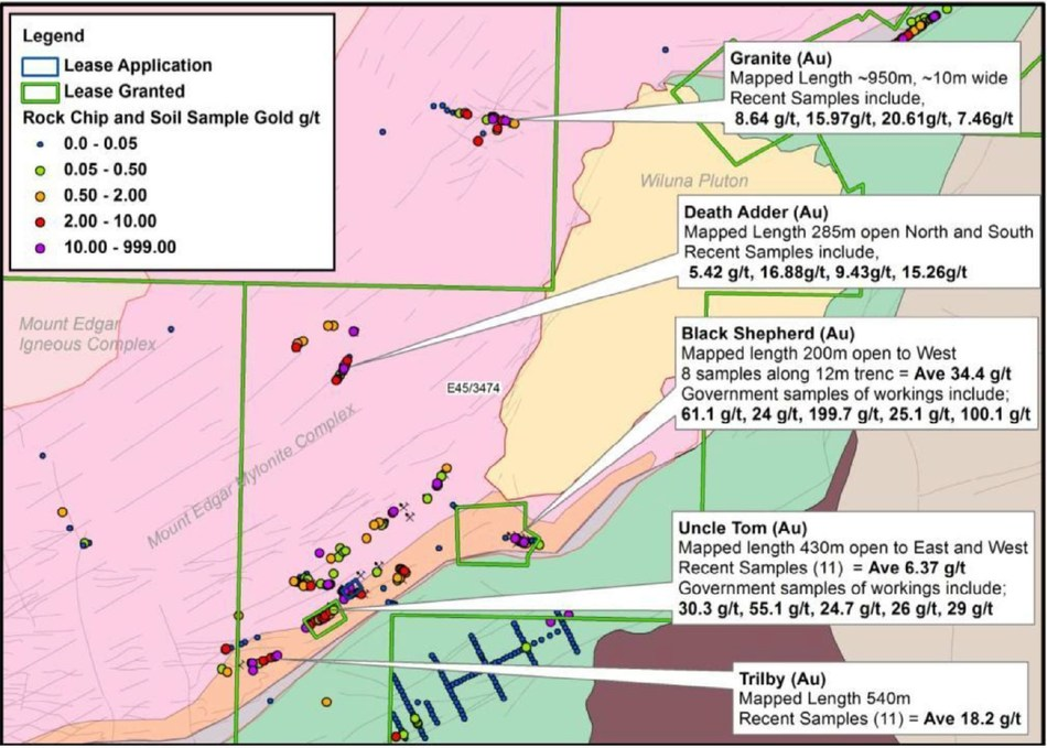 Figure 1. Pacton's Yandicoogina Project. Note: Geology, historic locations and grades were obtained from Western Australia Geological Survey archives. Grades noted in Figure 1, and historic mine production statistics of 198.8 kg from 3,232 t of ore yielding an average grade of 61.52 g/t gold do not conform to current disclosure standards, and are not to be relied upon. (CNW Group/Pacton Gold Inc.)