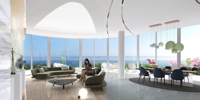 Interiors of Sixty6 Tower designed by Pininfarina allow the sea view from all apartments enhanced by the external glass walls making the sky and the sea entering into the apartments (PRNewsfoto/Pininfarina SPA)