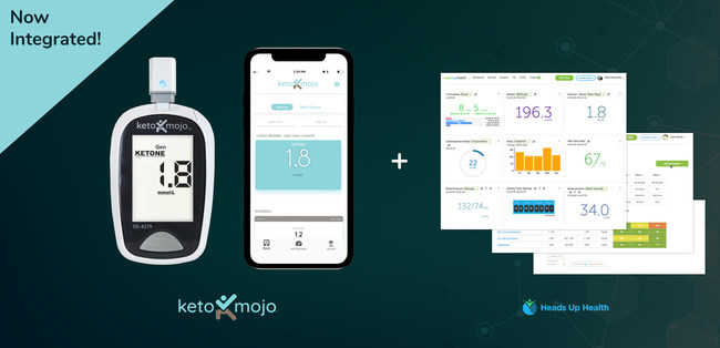 Through the Keto-Mojo app, people can now upload their blood glucose and ketone readings from their meter to the app and then upload that information to the Heads Up Health personal health dashboard.