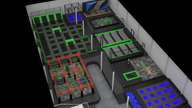 The world's first glow in the dark trampoline park is scheduled to open March 2019 and will feature an array of black light reactive elements including a neon orange ninja course, neon trampoline bed stripes, and neon green trampoline pads that glow under black lights.