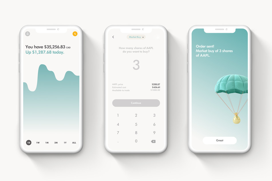 Minimal Clay iPhone X Presentation Mockup Set by Anthony Boyd Graphics (CNW Group/Wealthsimple)