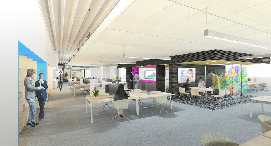 """Eisai's new facility, designed by TRIA, will feature an open office plan and adjacent open laboratory for the company's neuroscience R&D team of over 100 employees, which is set around a central collaboration meeting space dubbed """"The Brain."""" Rendering credit: TRIA"""