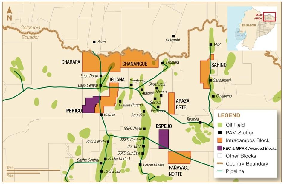 Map of Awarded Blocks (CNW Group/Frontera Energy Corporation)