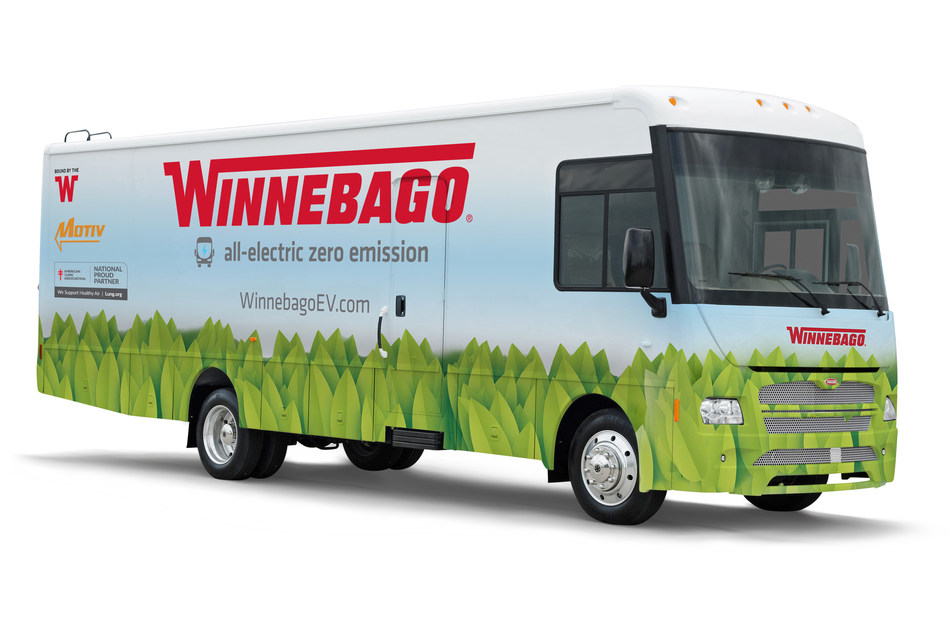 Winnebago's all-electric specialty vehicle honored with a Sustainability Award by the RV Industry Association at the industry trade show, RVX: The RV Experience (https://www.rvia.org/events/rvx-rv-experience), in Salt Lake City, Utah. (PRNewsfoto/Winnebago)