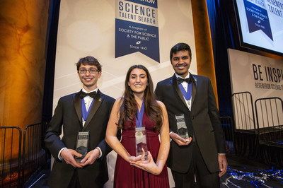 Washington, DC, March 12, 2019 -- Ana Humphrey (center), 18, of Alexandria, Virginia, won first place and $250,000 in the Regeneron Science Talent Search 2019, founded and produced by the Society for Science & the Public. Samuel Weissman (left), 17, of Rosemont, Pennsylvania, was awarded second place and $175,000 and Adam Ardeishar (right), 17, of Alexandria, Virginia was awarded third place and $150,000. Photo Credit: Chris Ayers/Society for Science & the Public