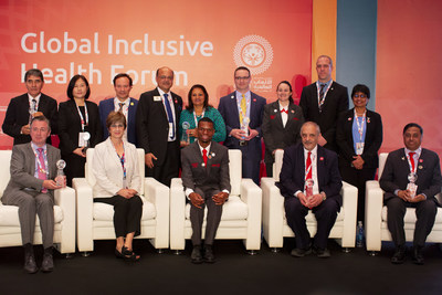 2019 Golisano Global Health Leadership Award Honorees. Seated from left to right: Luc Marks, Ann Costello, Nyasha Derera, Kamal Bani-Hani, Ashok Dhoble. Standing from left to right: Adnon Villamayor, Ying Feng, Javier Vasquez, Manoj Shah, Jayna Shah, Peter Seidenberg, Renee Manfredi, Drew Boshell, Reena Kumar