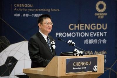 Zhang Yingming, subdirector general del Departamento de Publicidad del Comité de Chengdu del Partido Comunista de China, da el discurso inaugural en el Evento de Promoción de Chengdu en Austin (PRNewsfoto/ChinaGathering@SXSW)